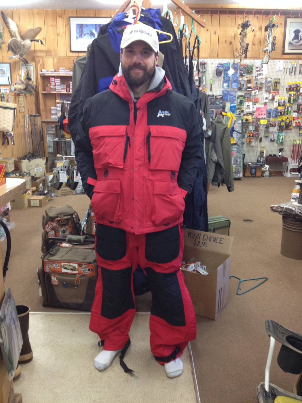 With all these cold temperatures and the quest to follow new ice, come on in and check out the waterproof, sub-zero flotation suit from Arctic Armor!!
