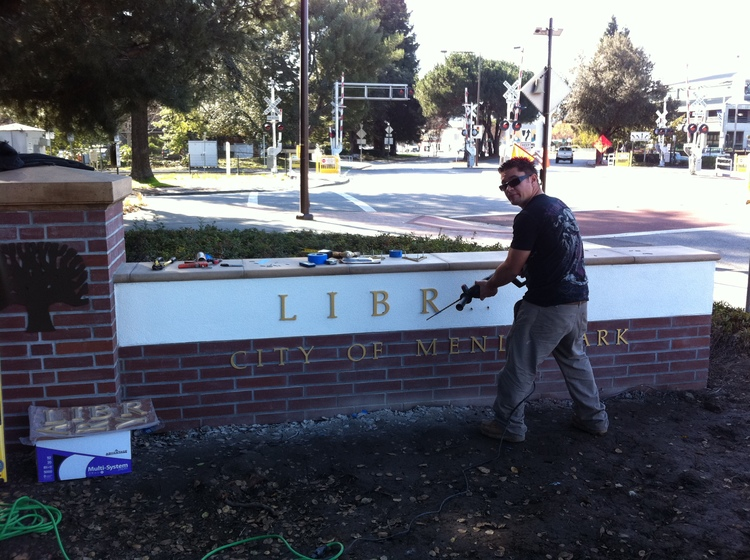 Library Monument Sign - Poms Landscaping Inc.