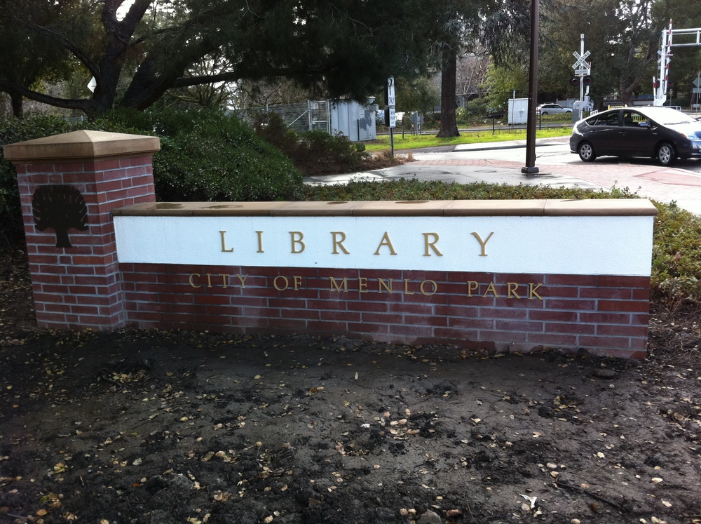 Menlo Park Library Sign