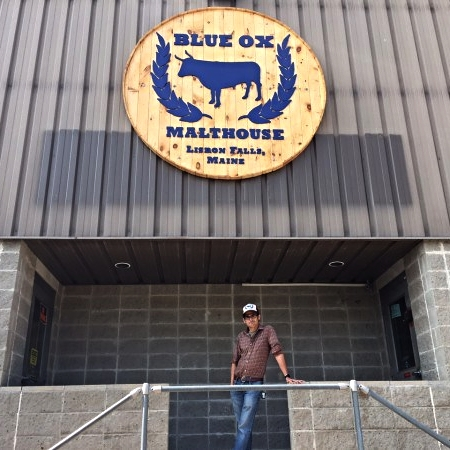 Joel Alex, Founder Blue Ox Malthouse, Poses out front the Malthouse located in Lisbon Falls, ME Photo Credit: Kathleen Pierce | BDN