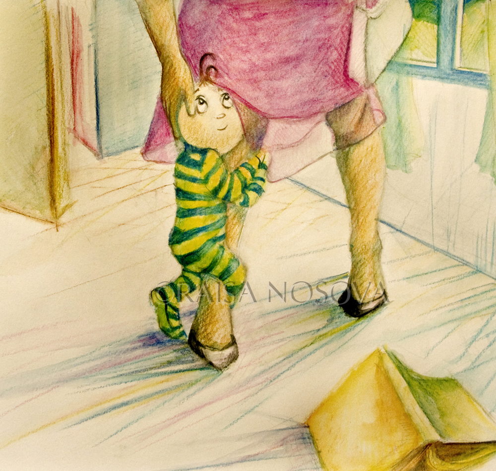 3. One of the pages for a book i illustrated that never got published, watercolor pencils on illustration board, 2006