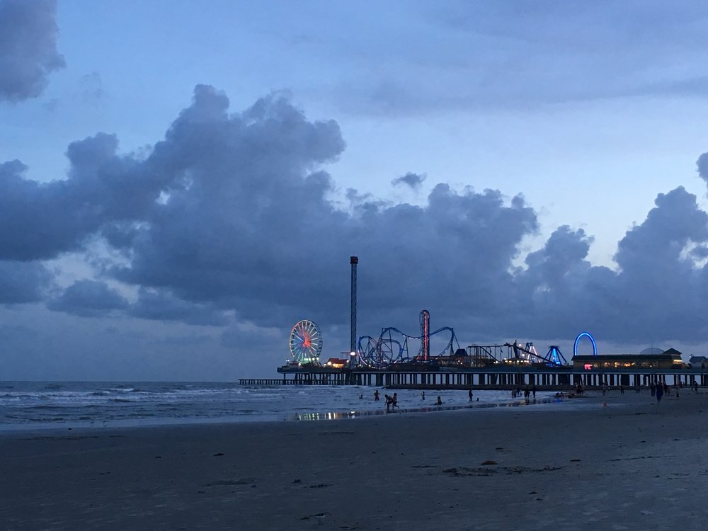 The Pleasure Pier at dusk