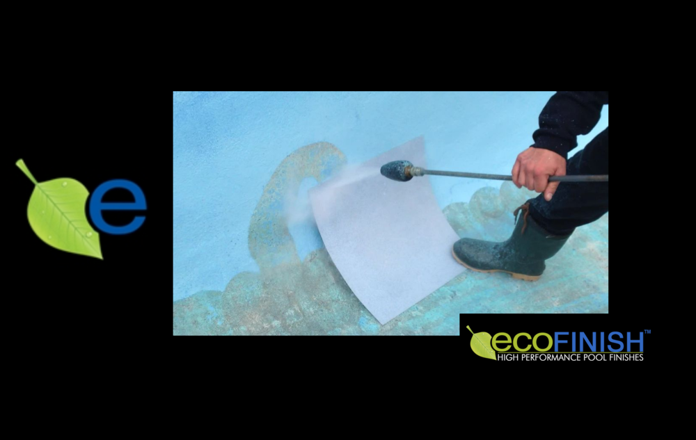 Video shows what a 5000 psi power washer does to paint on concrete. Does not affect ecoFinish!