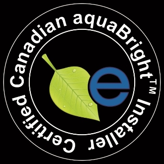 Look for this sign of excellence. certified Canadian aquabright installer button.
