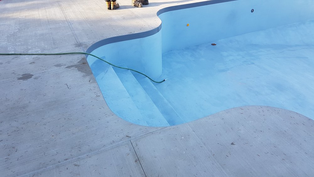 aquaBright by ecoFinish cures instantly....filling the pool with a garden hose