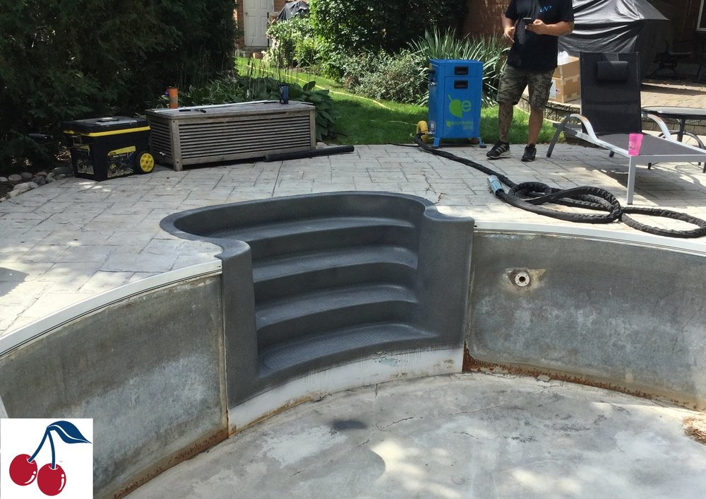 Fiberglass Steps repaired, refinished & ready to use with polyFibro installation