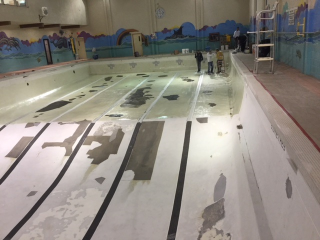 Burman University repairs completed and 50/50 epoxy application underway