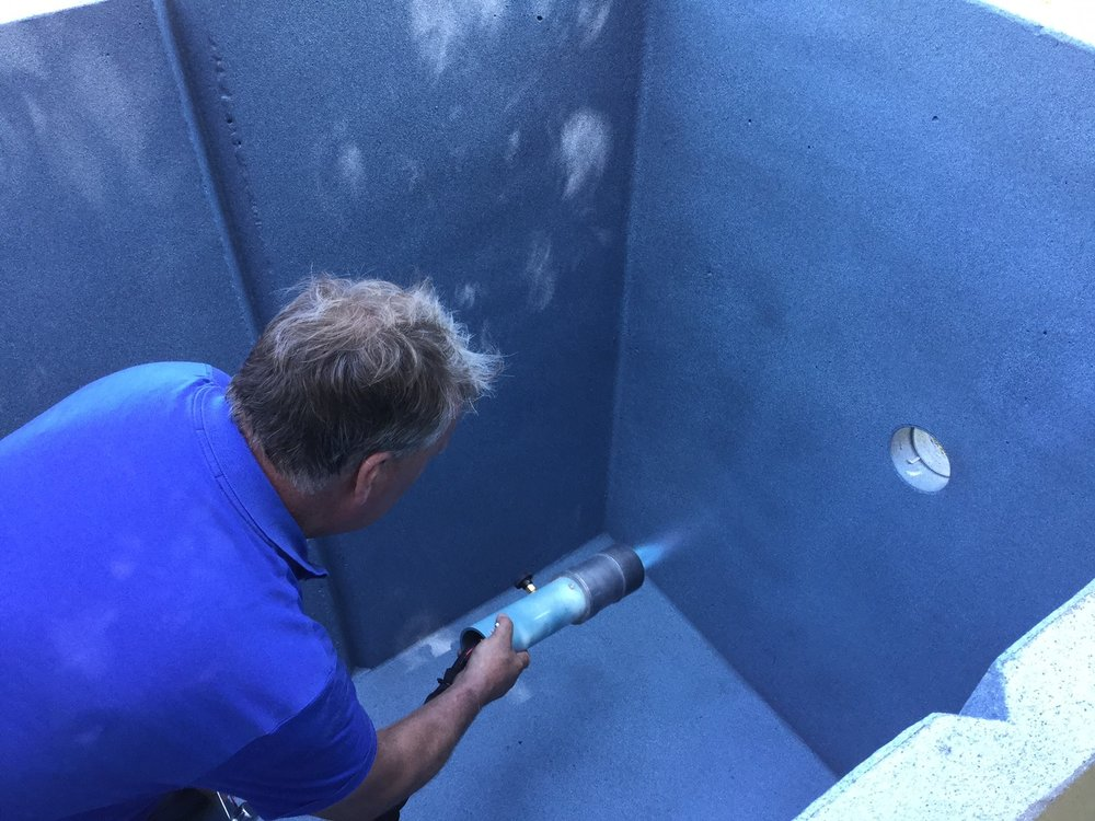 Mike Cleary installs Blue Lagoon on !NSTANT POOL interior
