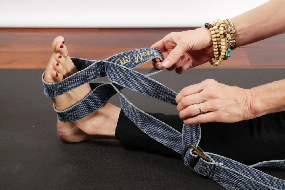 Place both stationary loops over your foot. Use the middle section for your 2-finger hold . Step by Step - Breath by Breath advance deeper with poise and pose.