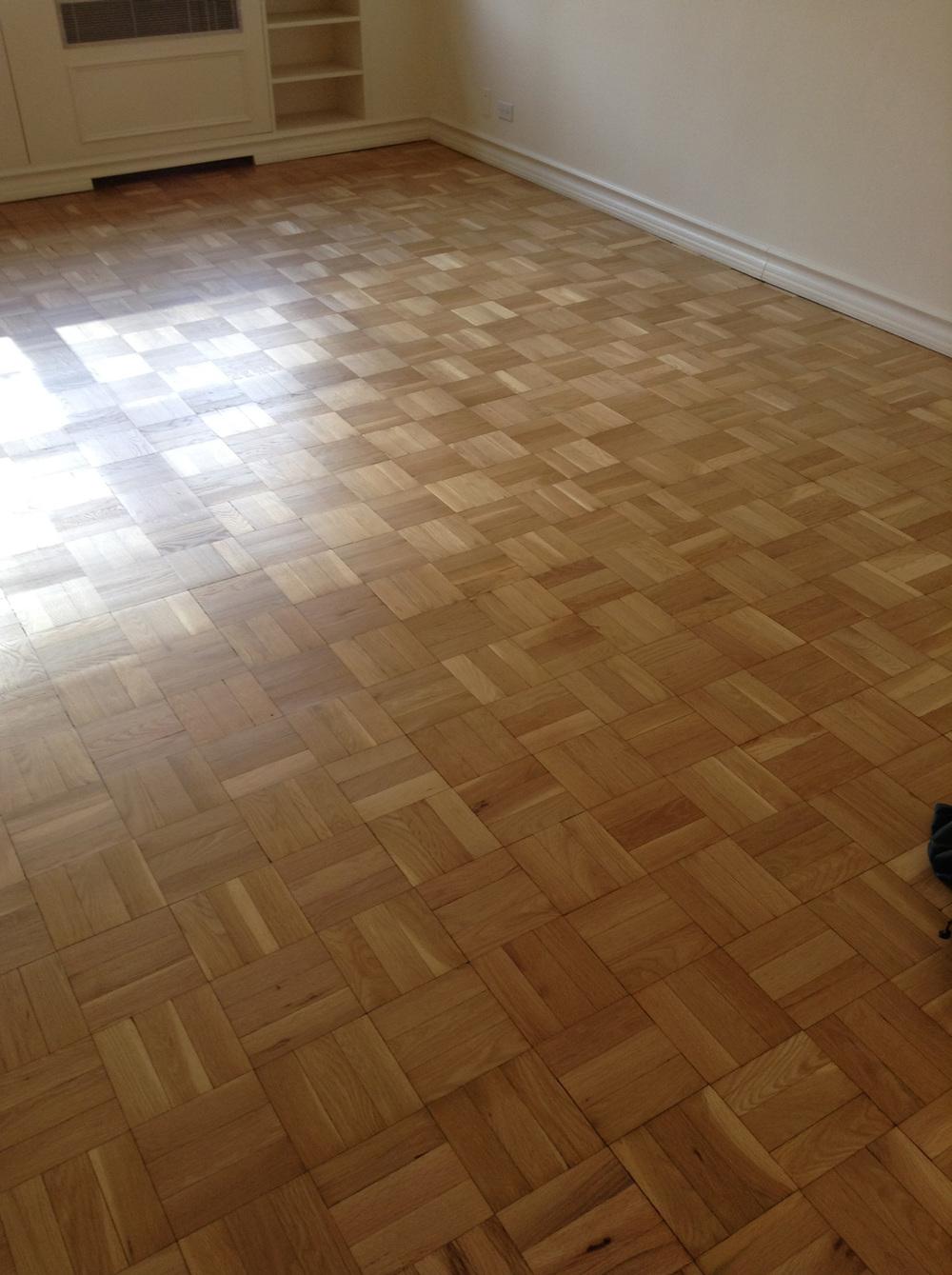 sanded parquet floor