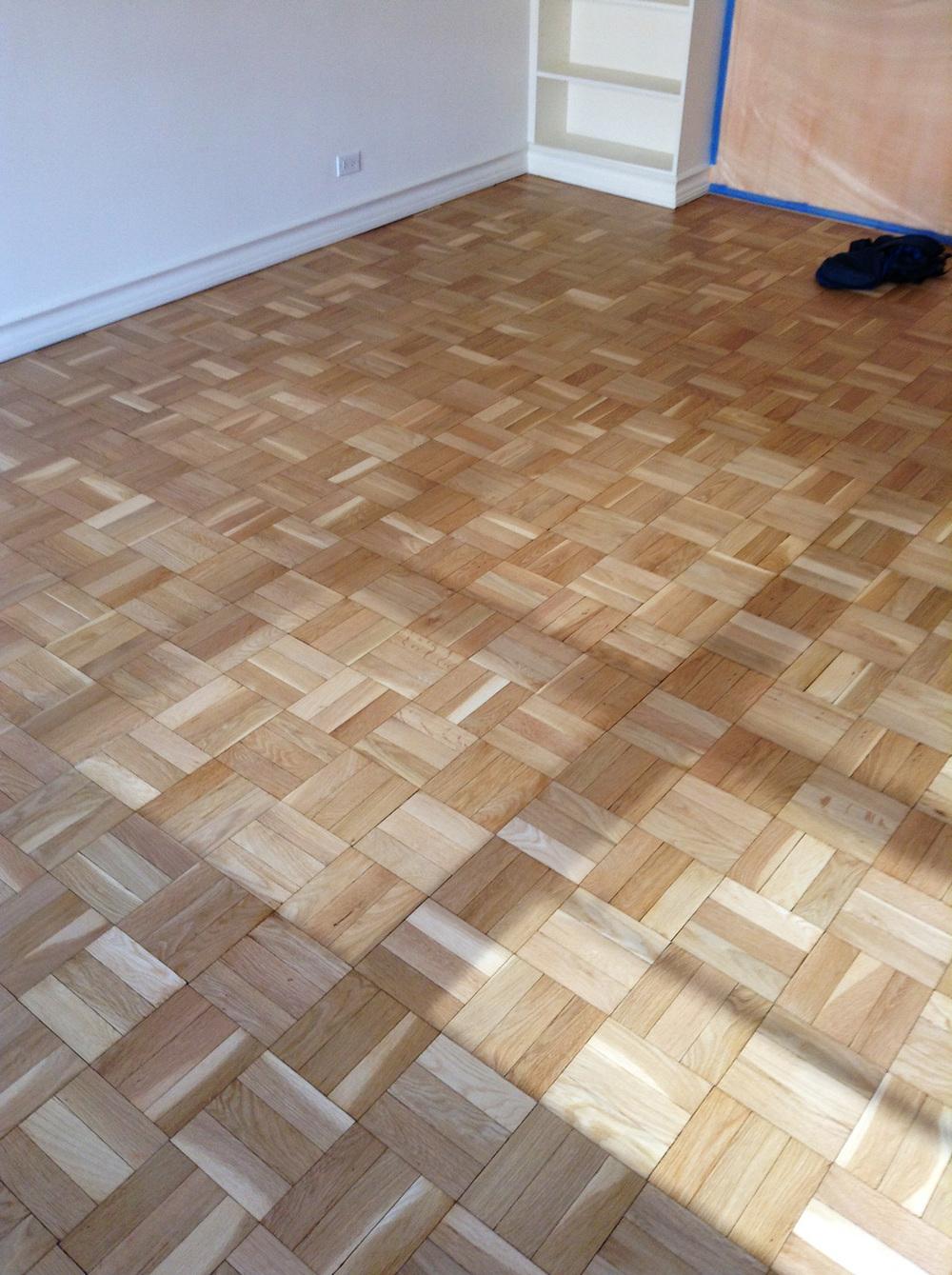 sanded parquet flooring
