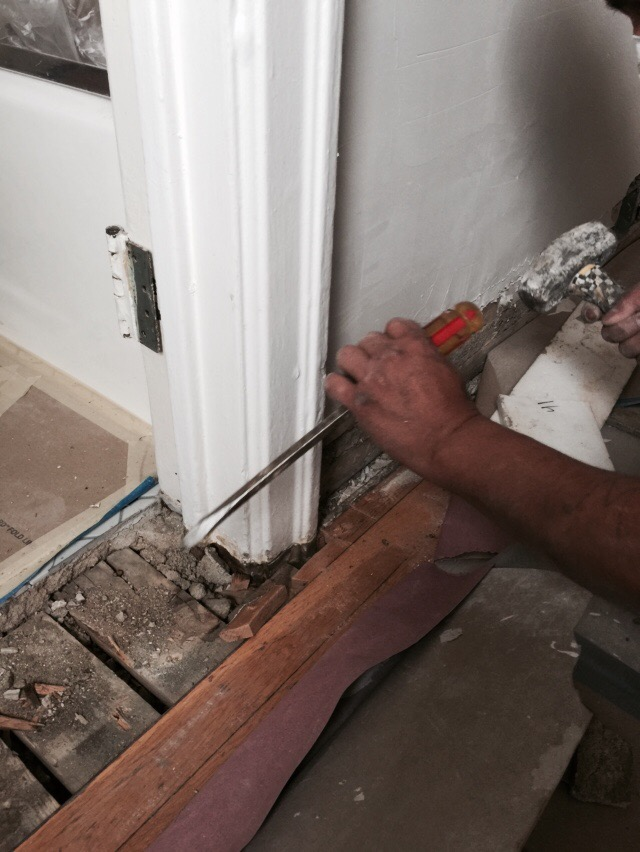 Cleaning up the doorframe after removal & Repairing wood floor damage after removing a metal door frame ... pezcame.com