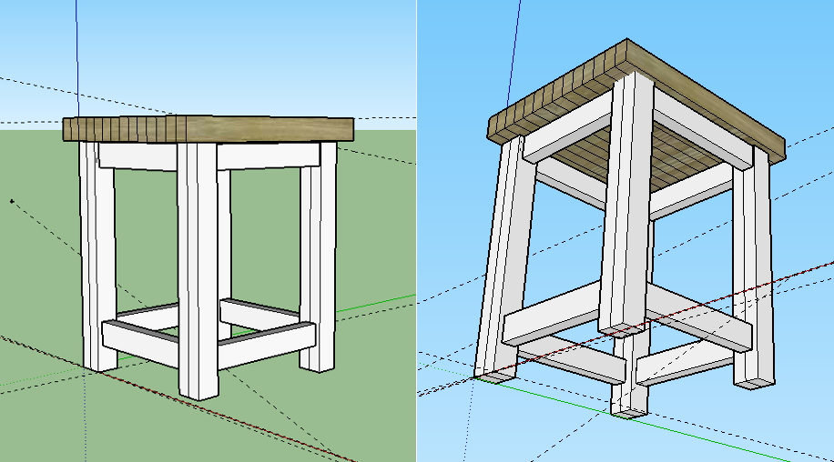 Making a workbench table w 2 x 6 39 s for a band saw for Table design sketchup