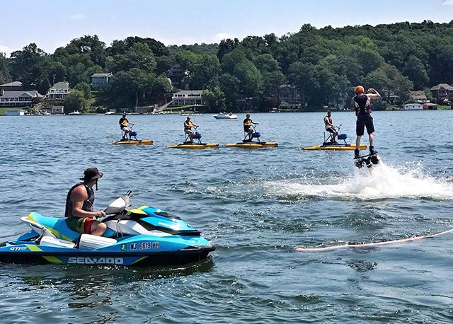Check out @lhadventureco to rent their new hydro bikes!  It's a great way to get a workout in while exploring the lake. 🚲🌊💪🏼 . . . . #LiveTheLakeNJ #LakeLife #HydroBike #LakeHopatcong #exploreNJ #FitNJ #kayak #paddleboard