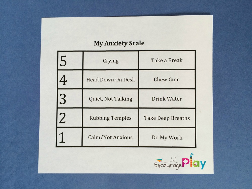 my anxiety scale by Encourage Play