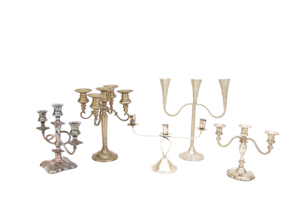 (TA-079.3) SILVER + PEWTER CANDELABRA COLLECTION
