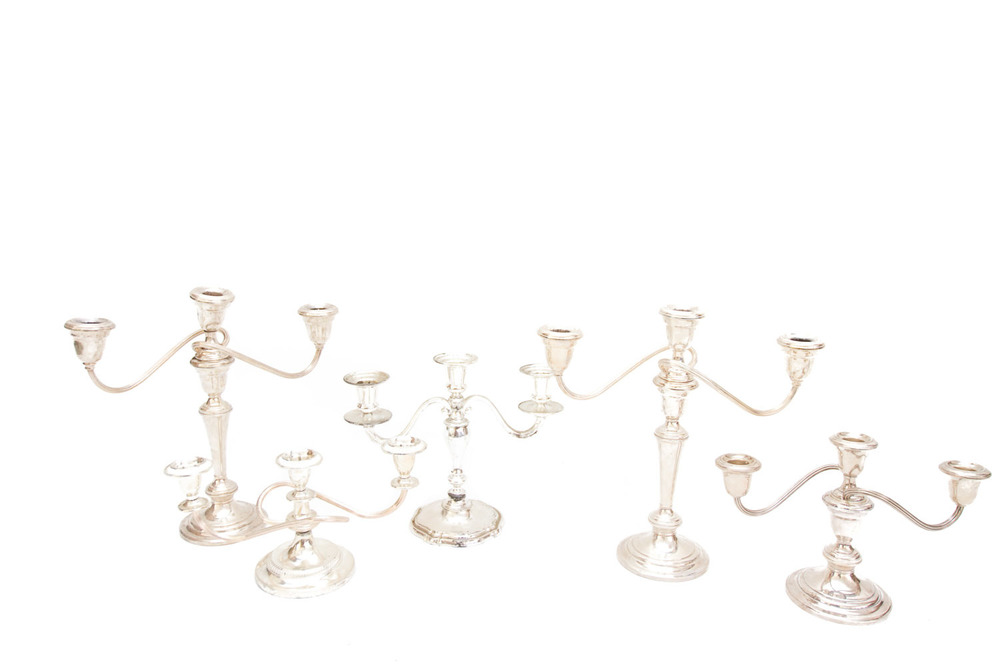 (TA-079.5) SILVER + PEWTER CANDELABRA COLLECTION
