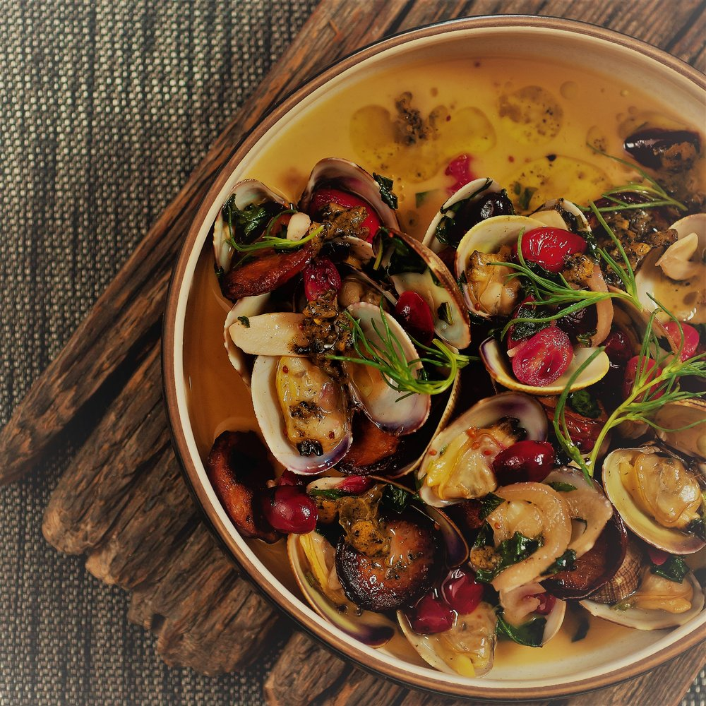 manila clams, chorizo, cranberry, burnt garlic, madeira