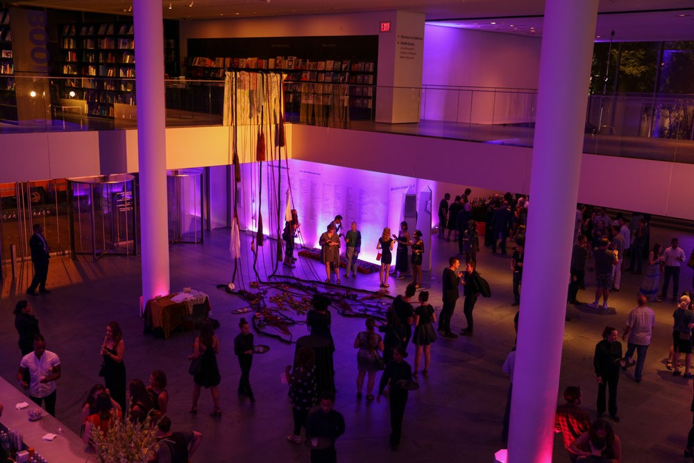 Altar/Alter: A Ritual of Mythos Participatory Installation featuring ropes, bedsheets, horse hair, alligator and pheasant carcasses, night gown, wedding veil, and other items. Installed at the Museum of Modern Art (New York, NY)