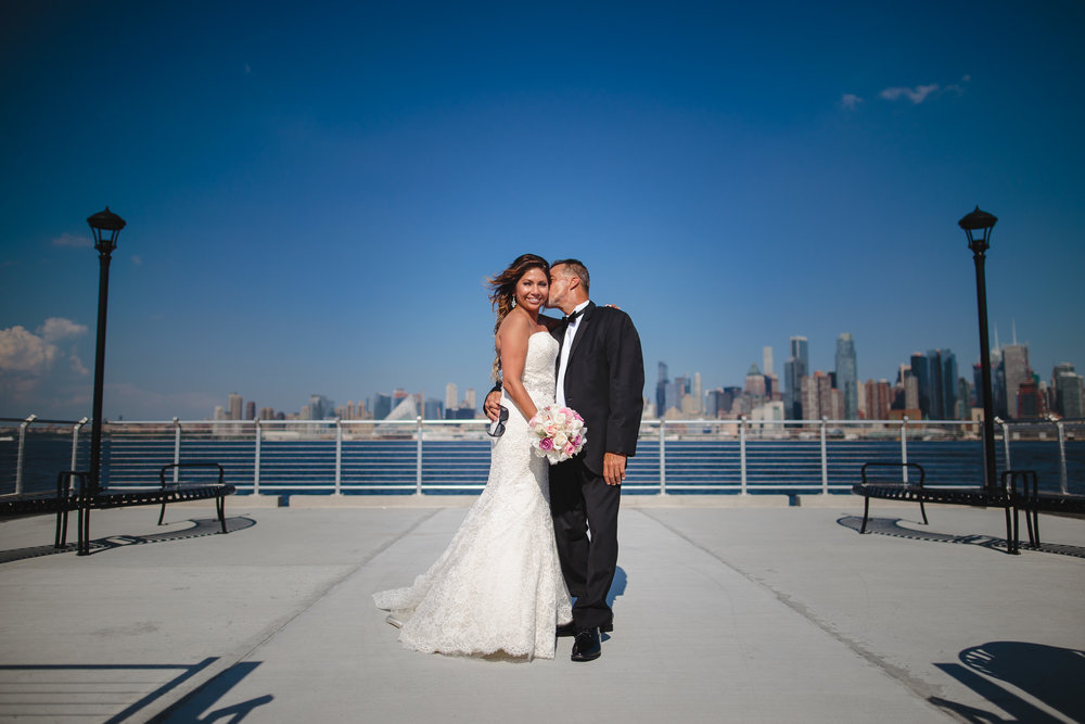 wedding portrait bride groom wehawken waterfront pier nj