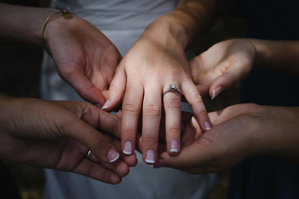 wedding engagement ring hand detail close up macro