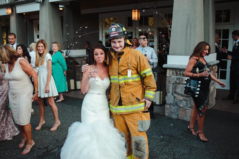 wedding cocktail hour reception bride fireman mountain lakes club nj