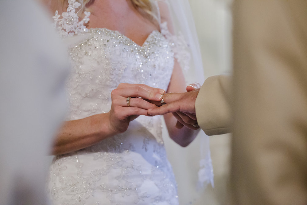 wedding ceremony ring exchange close up