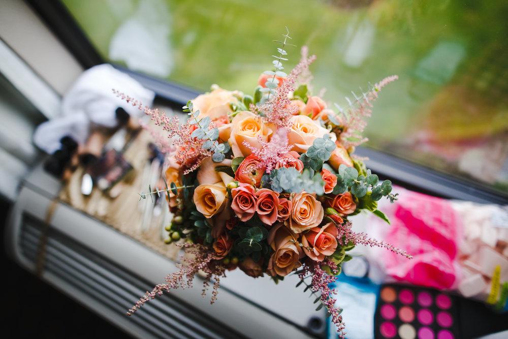 wedding flower bouquet detail close up