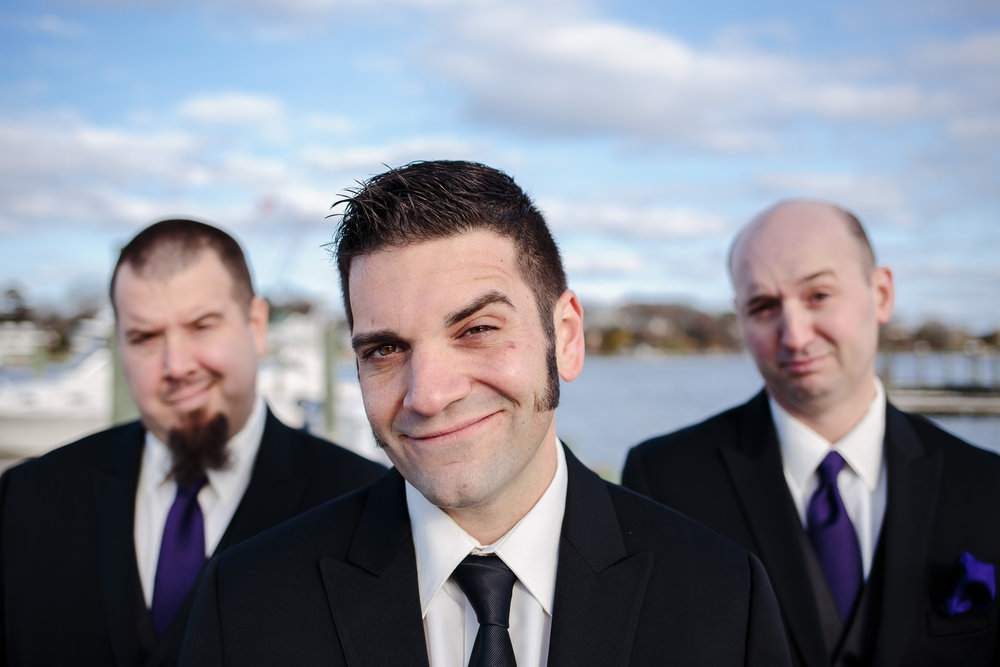 wedding groom grooms men portrait group shot crystal point yacht club brick nj