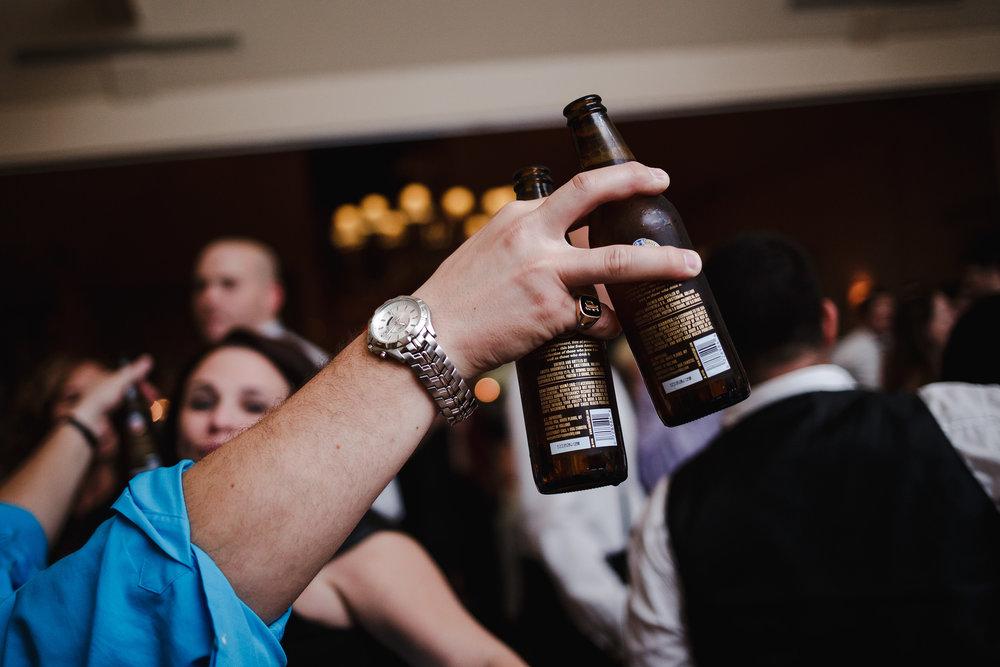 wedding reception beer bottles