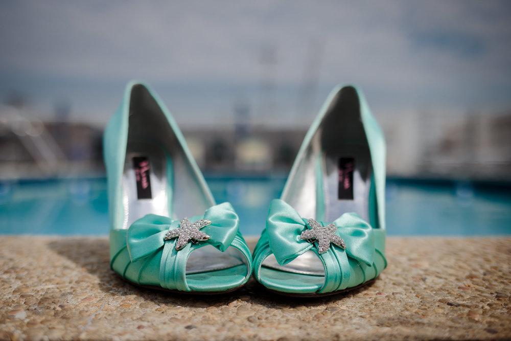 wedding shoes pool detail close up macro
