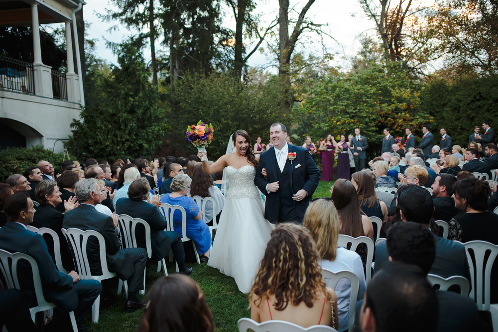 wedding ceremony recessional bride groom exit manor house at commonwealth horsham pa