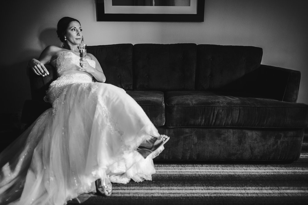 wedding bride portrait relaxing on couch