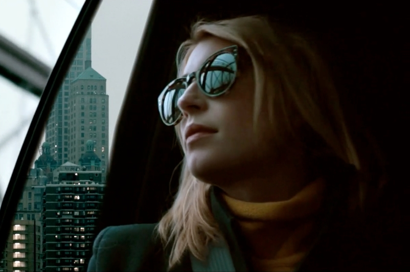 Actress Cecilia Forss in the car scene shot on Brooklyn Bridge.