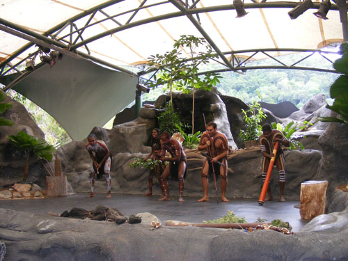 Enjoying the performance of Aborigines at Tjapukai Aboriginal Cultural Center up in the Daintree Rainforest near Cairns, Australia.
