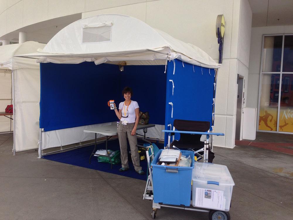 Booth set up under Cirque Du Soleil
