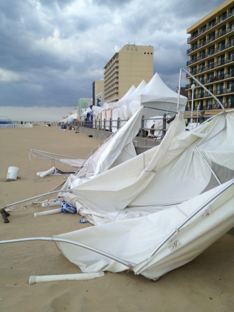 My brand new tent ripped to shreds at the 2013 Virginia Beach Boardwalk Art Show.