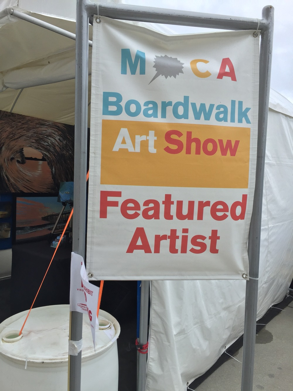The featured artist sign.  All of T Shirts and Posters with my painting on it sold out for the first time in years according to MOCA.