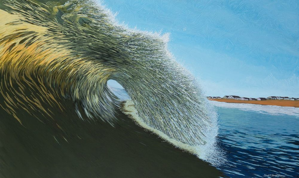 """HURRICANE DANNY SERIES, NO. 1, SANDBRIDGE"" 36"" X 60"", ACRYLIC ON CANVAS"