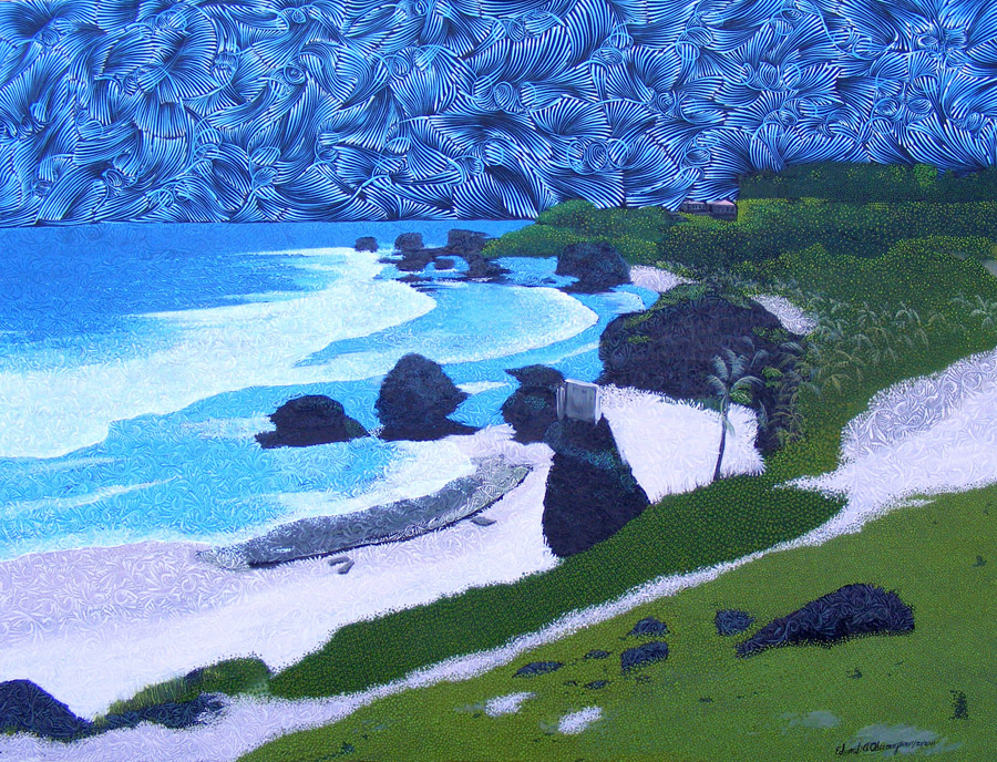 "BATHSHEBA, SOUP BOWLS AND PARLOR, BARBADOS 36"" X 48"", ACRYLIC ON CANVAS © NOVEMBER 21, 2011"