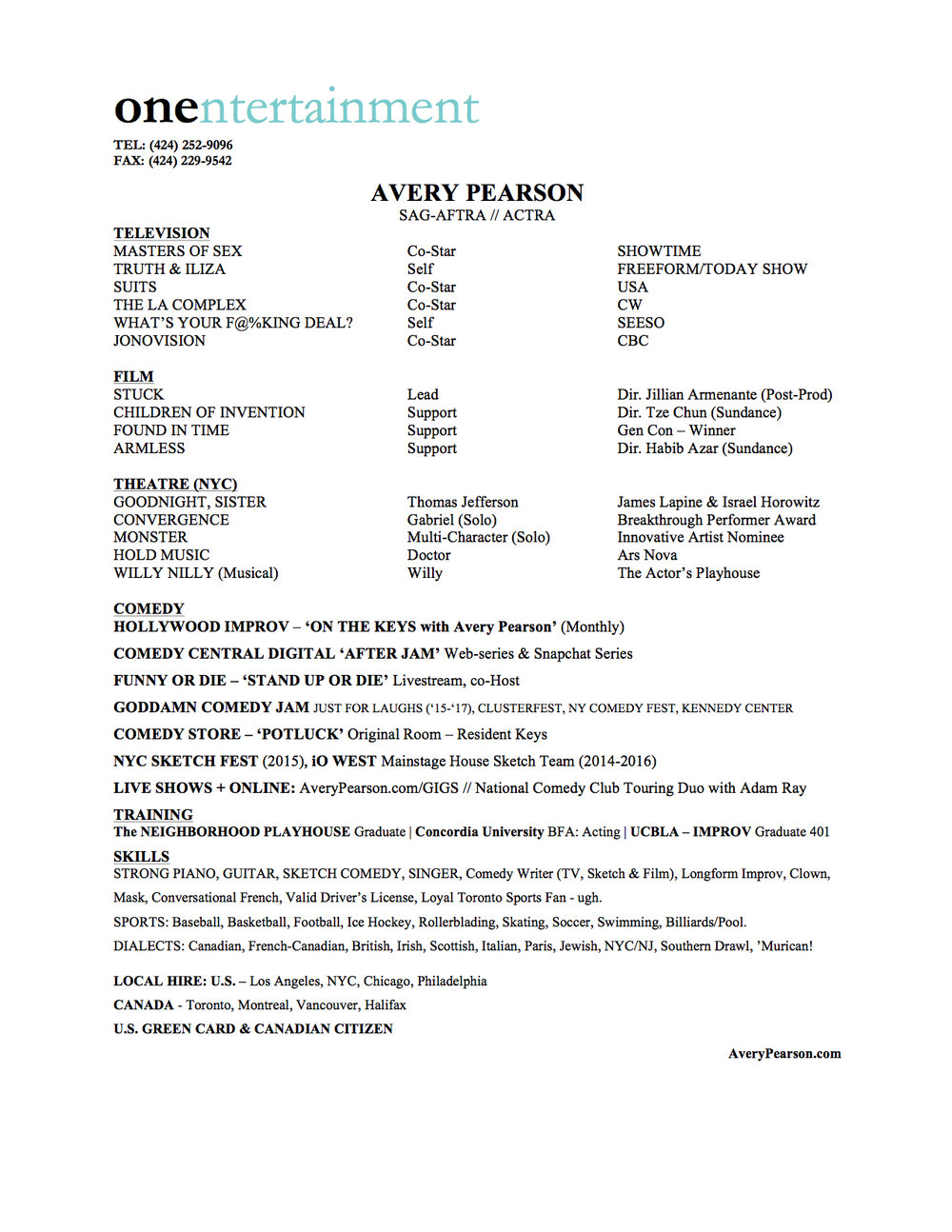 Avery Pearson - Resume 2017