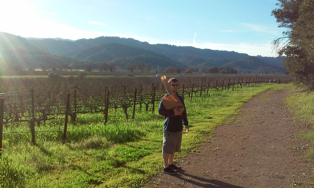 Corey, bread in hand, out for a Stroll in Yountville, CA.