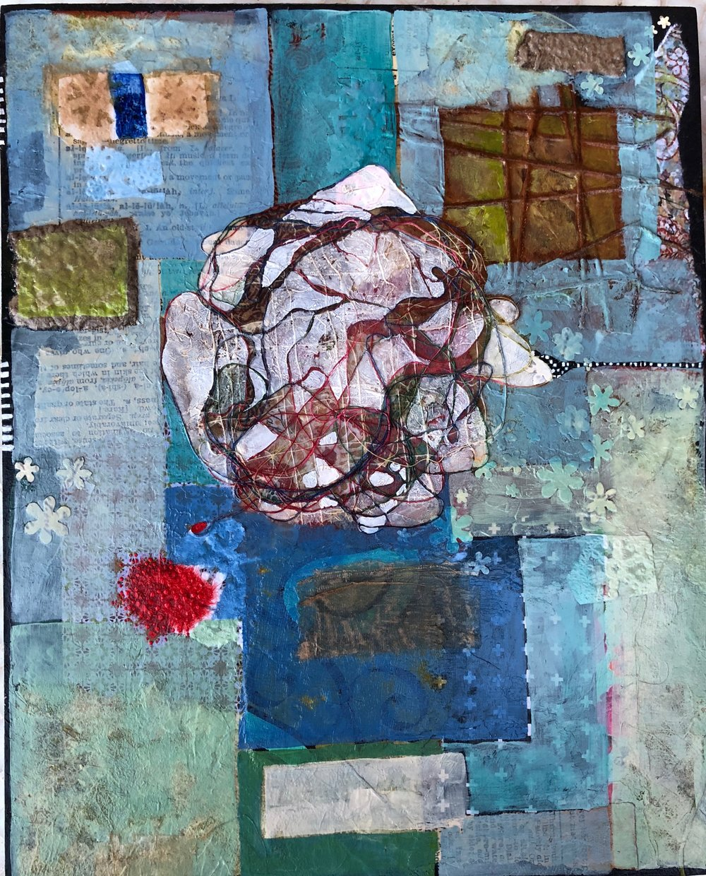 - acrylic, ink, threads, papers on cradled wood panel