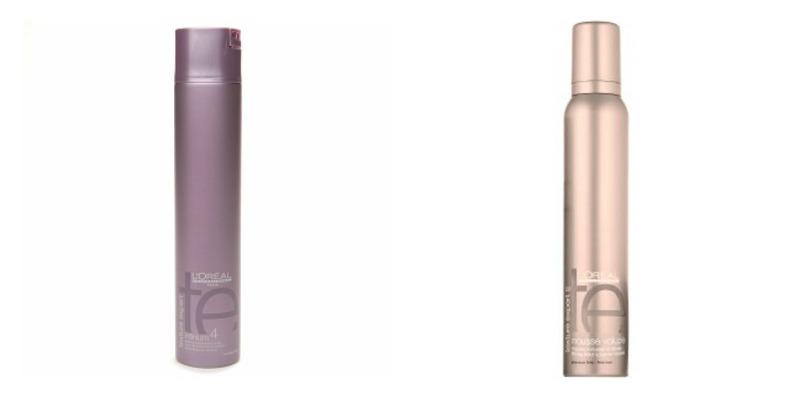 L'Oreal Professionnel Infinium 2 hairspray            L'Oreal Professionnel Mousse Volupte