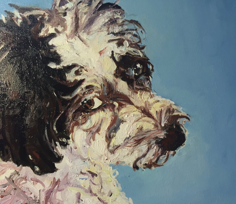 Boston pet portrait artist Katherine Miller and her dog Lola