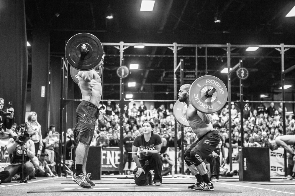 Rich Froning and Chris Spealler during the 2014 Kill Cliff East Coast Championships, Boston Seaport World Trade Center