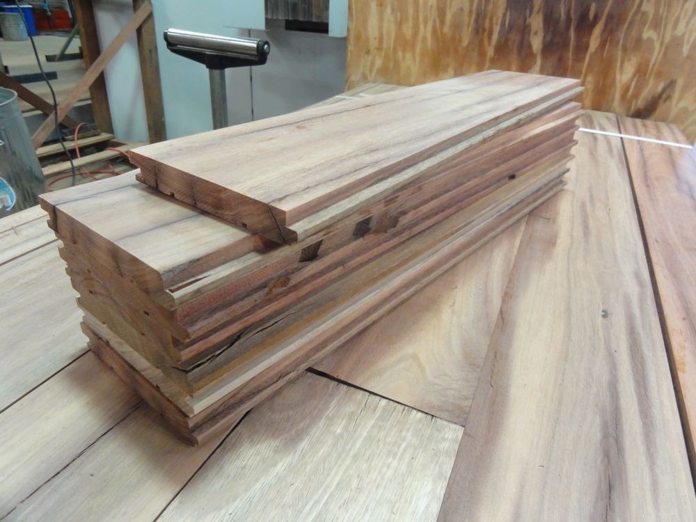 A pack of timber ready for installation in some lucky person's home! you can see on top the tounge and groove profile we have added.