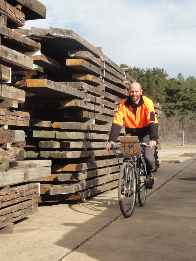 Thor, going for a cruise on the company bike finding timber for a customer order.