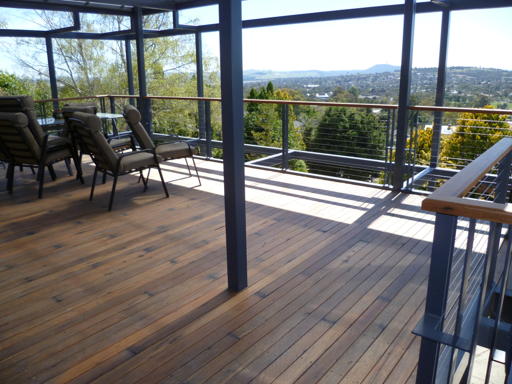 A well designed covered deck using recycled timber from   Thor's Hammer