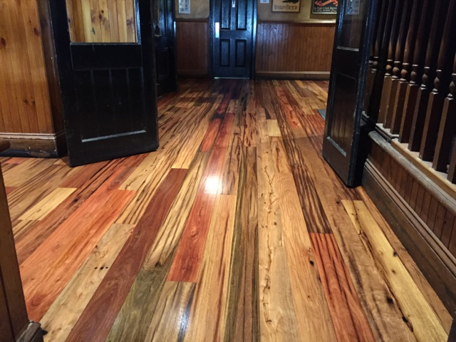 Telegraph pole floor boards installed onsite at King O'Malleys - Canberra City